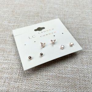 Lauren Conrad | 3 Pair Gold Tone Earring Set